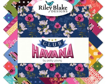 FREE SHIPPING: Club Havana Fat Quarter Bundle, Complete Collection of 21 Fat Quarters by Patty Young for Riley Blake Designs