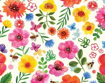 Dear Stella Fabrics, Floral Cream, Catitude Cotton Fabric by the Yard and Fat Quarters, Quilting Fabric, ST-DMB1670CR