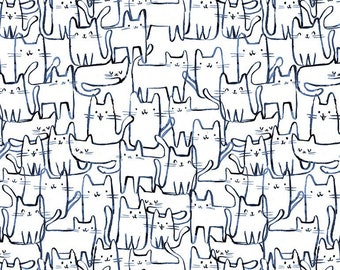 Dear Stella Fabrics, Wait a Meow-ment, Creative Cats Cotton Fabric by the Yard and Fat Quarters, Quilting Fabric, STELLA-DCJ1689-WHITE