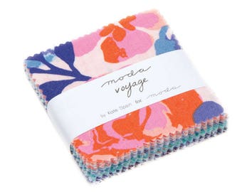 Moda Mini Charm Pack, Kate Spain Fabric, Voyage by Kate Spain for Moda Fabrics, Fabric Scraps