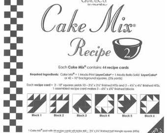 Moda Cake Mix Recipe 2--Foundation Piecing Pattern Pack--Quilt Pattern--Paper Piecing--Easy Half Square Triangles--CM2 Miss Rosie