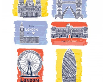 From London with Love - Sites Multi Panel 36 in. x 44 in., Vicky Yorke Designs, Camelot Fabrics - 30170109P