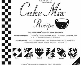 Moda Cake Mix Recipe 7--Foundation Piecing Pattern Pack--Quilt Pattern--Paper Piecing--Easy Half Square Triangles--CM7 Miss Rosie