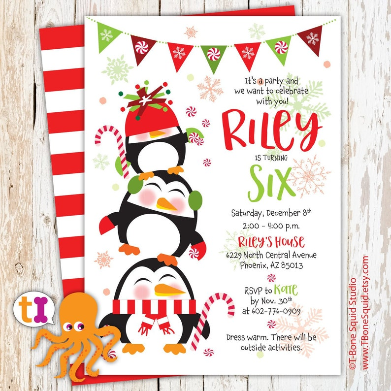 Penguin Candy Cane Christmas Birthday Party Invitation