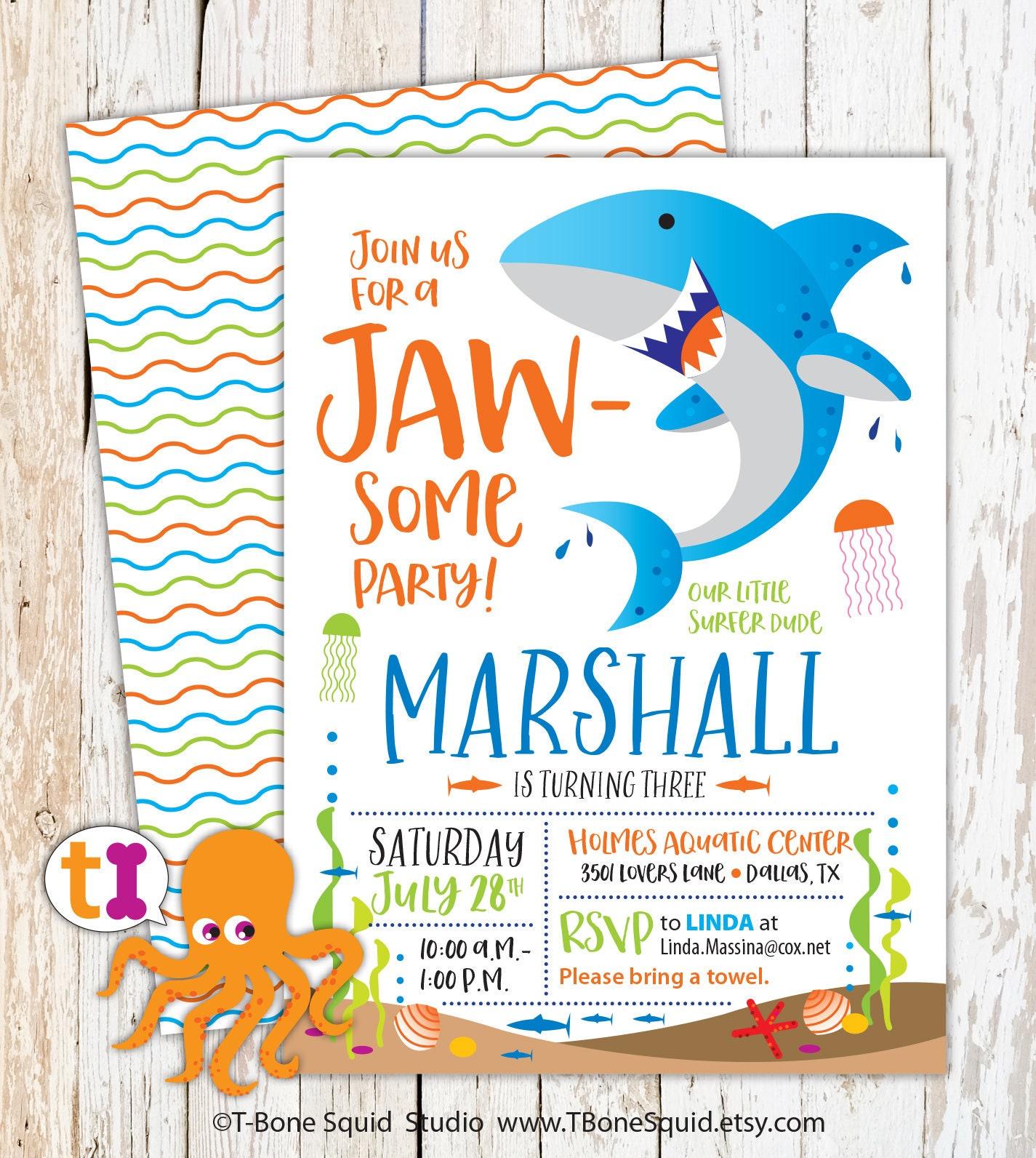 Shark Birthday Party Invitation for kids | Etsy
