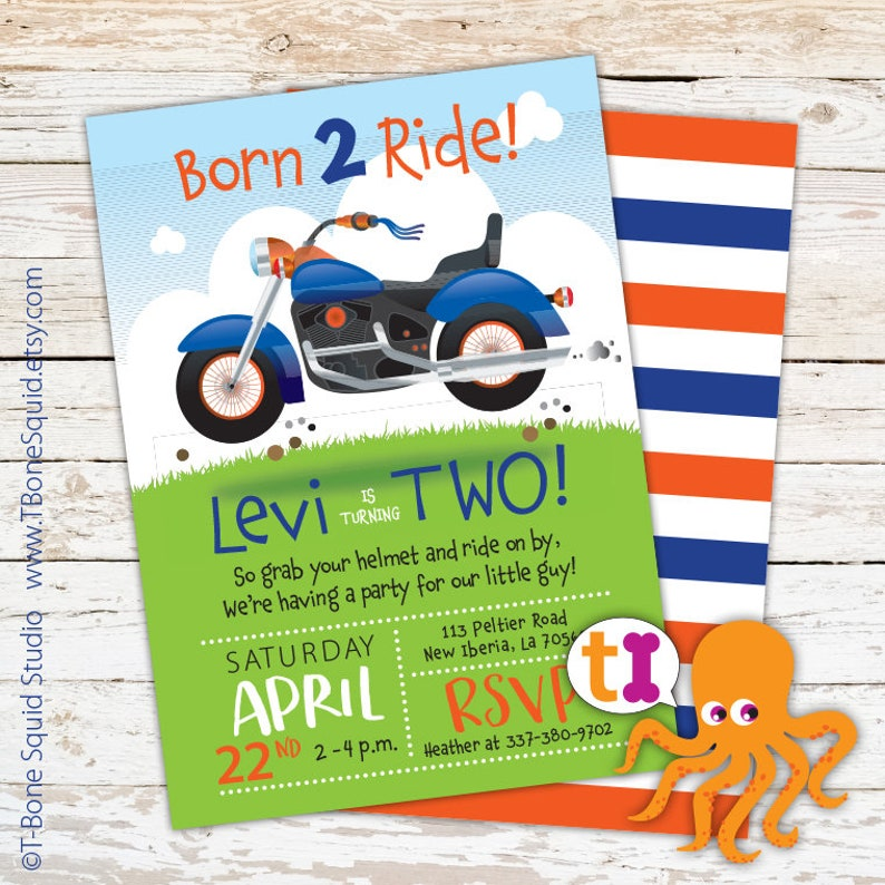 Motorcycle Birthday Party Invitations Boys