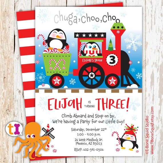 Penguin Candy Cane Christmas Train Birthday Party