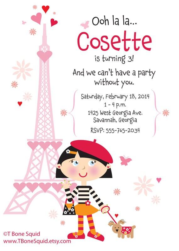 French birthday party invitation for girls etsy image 0 stopboris Choice Image