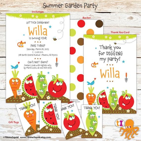 garden party birthday invitation with vegetables for kids etsy