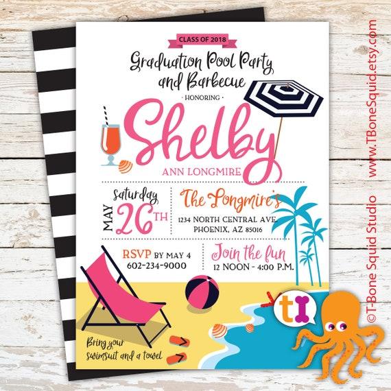 graduation barbecue bbq pool birthday party invitation etsy