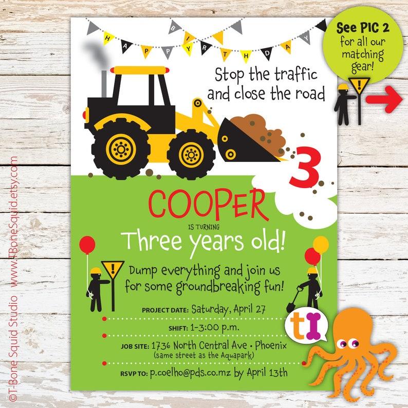 Construction Truck Birthday Party Invitations Boys