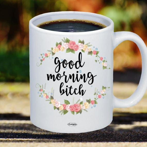 Bonjour Chienne Tasse à Café Drôle Avec Des Fleurs 11oz 15 Oz Meilleur Ami Gag Cadeau Idée Petite Amie épouse Blague Tasse