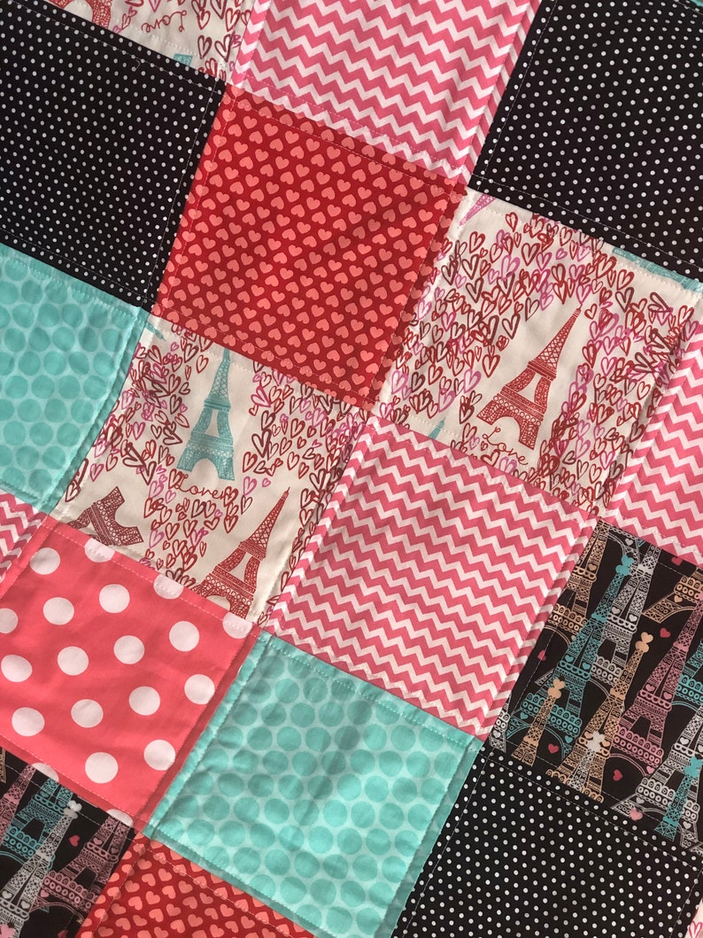 Baby Or Toddler Quilt Pink Baby Blanket Mint and Red Quilt Black I Love Paris Baby Quilt Paris Baby Quilt Nursery Quilt Baby Quilt