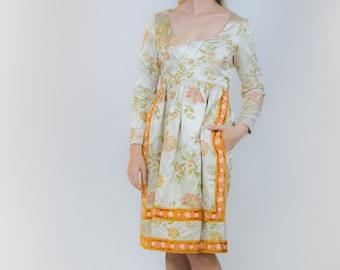 1960's Renaissance Inspired Brocade Wilson Folmar Cocktail Dress 60's Satin Party Dress