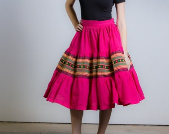 1950's Pink Patio Full Skirt 50's Tiered Mexican Circle Skirt
