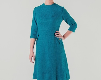 1950's 1960s Teal Blue Boucle Wool Dress