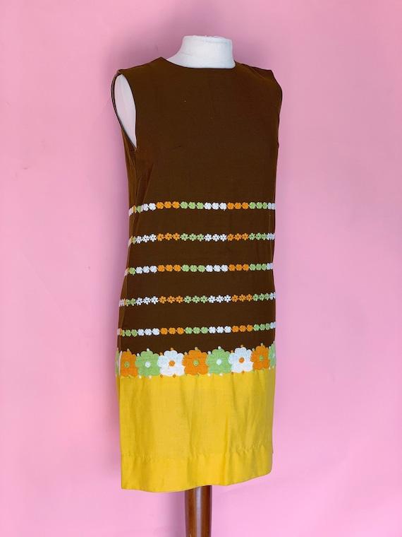 1960's Mod Shift Flower Power Dress 60's