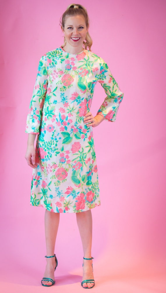 1970's Bill Blass Shift Dress 70's Floral Dress