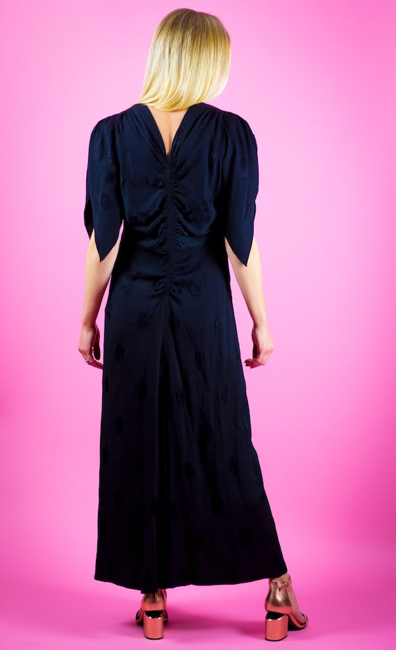 1930's Black Rayon Gown 40s 1930s 30s Polka Dot Go