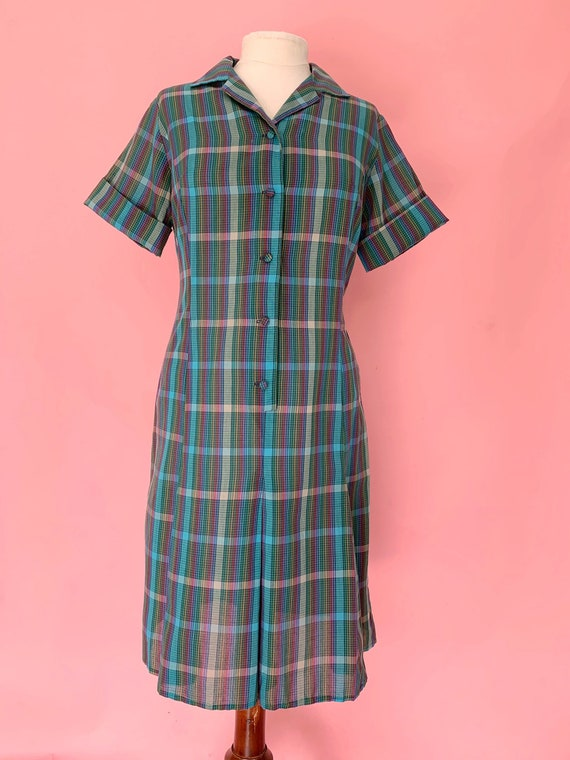 1960's Rainbow Plaid Scooter Dress  Medium/ Large