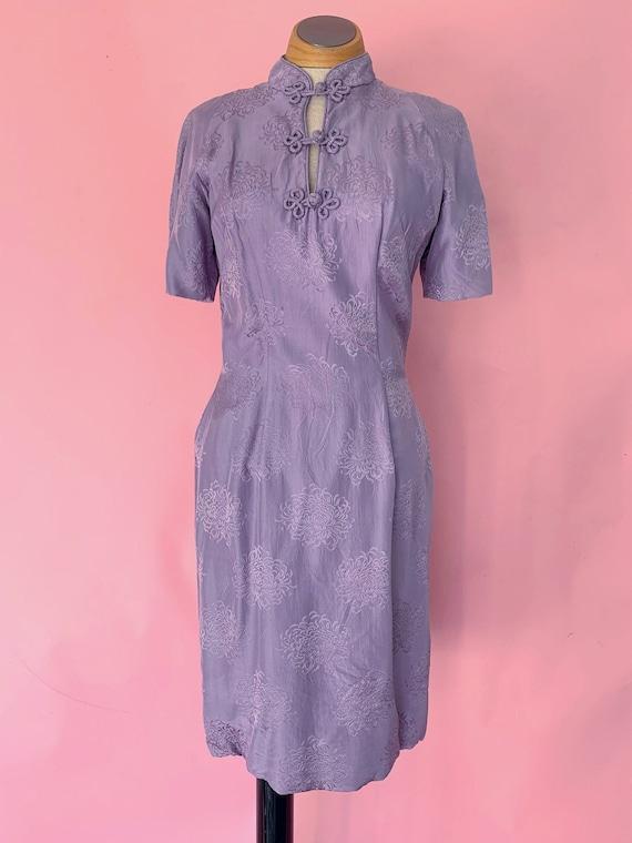 1950's Suzy Perette Purple Silk Wiggle Dress