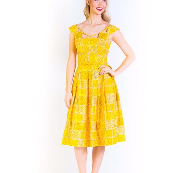 1950's Cage Neckline Yellow Full Skirt 50's Nat Ka