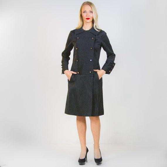 1960's Teal Traina Black Pinstripe Dress 60's LBD