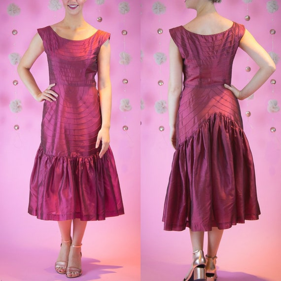 1950's Burgandy Organza Cocktail Dress 50s Vintage