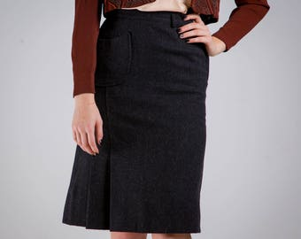 1950's Charcoal Gray Wool Pencil Skirt/ 50's High Waisted Pin Up Girl Skirt