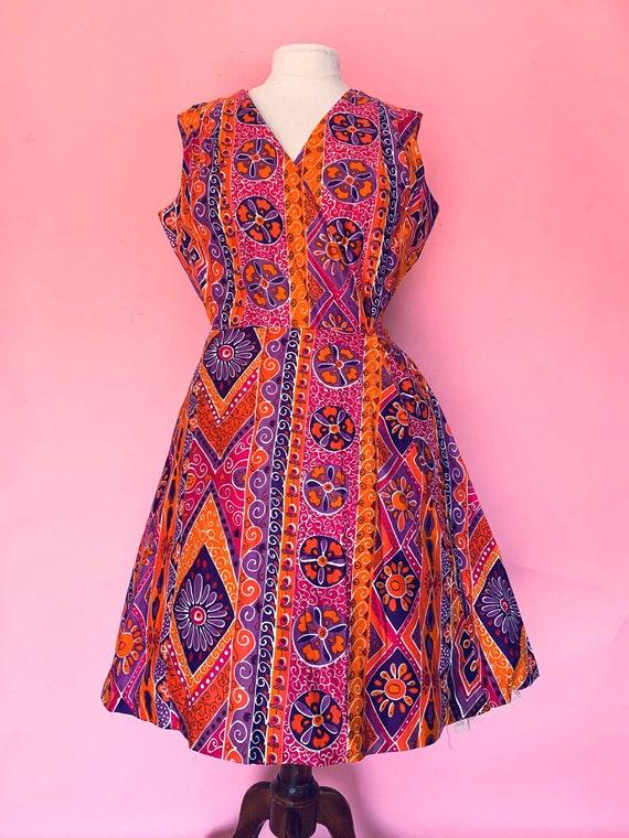 1960's Swirl Wrap Dress Size Large