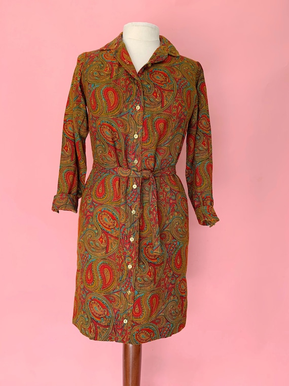 1970's Paisley Shirtwaist Dress