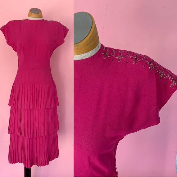 1940's Fuchsia Pink Rayon Dress 40's Cocktail Dres