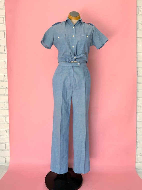 1980's Chambray Pants and Blouse Set Size Small