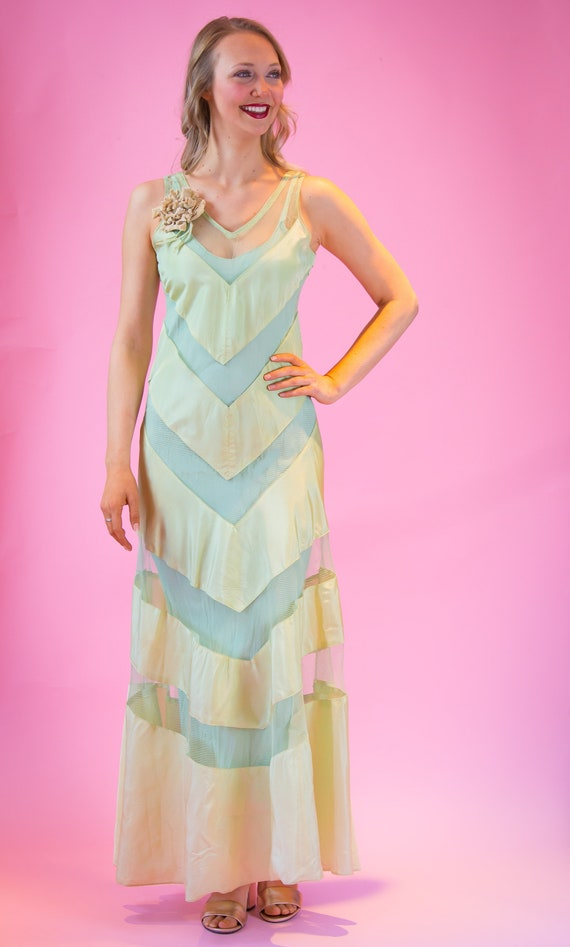 1930's NRA Label Chevron Stripe and Sheer Gown wit
