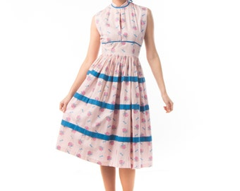 1950's Novelty Print Sundress / 50's Cotton Pink Present Day Dress