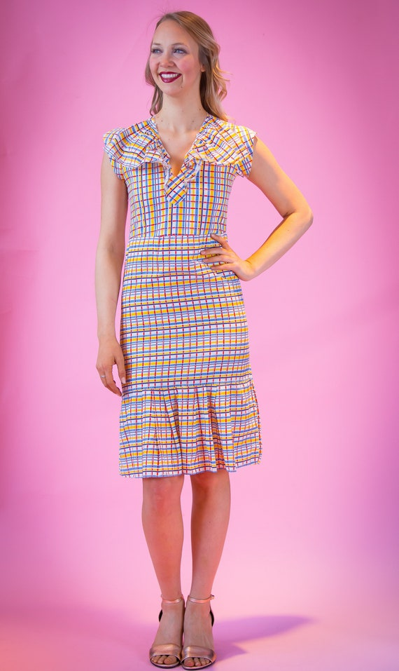 1930's Style Cotton Plaid Day Dress Small