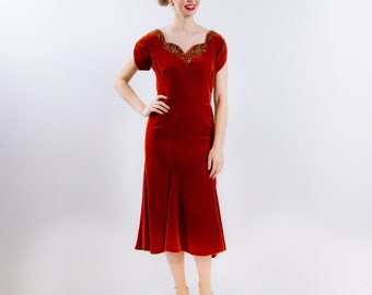 1940's Orange Velvet Dress 40's Rust Colored Gown Size Medium