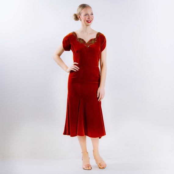 1940's Orange Velvet Dress 40's Rust Colored Gown