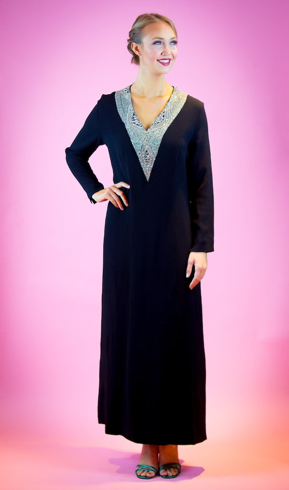 Mr. Blackwell Showstopper Black Rayon Jeweled Neck