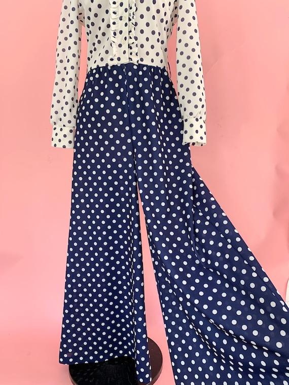 1970's Polka Dot Jumpsuit 70s Palazzo Pants Tuxed… - image 2