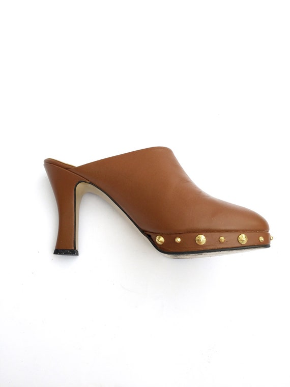 1970's Brown Studded Clogs Size 9