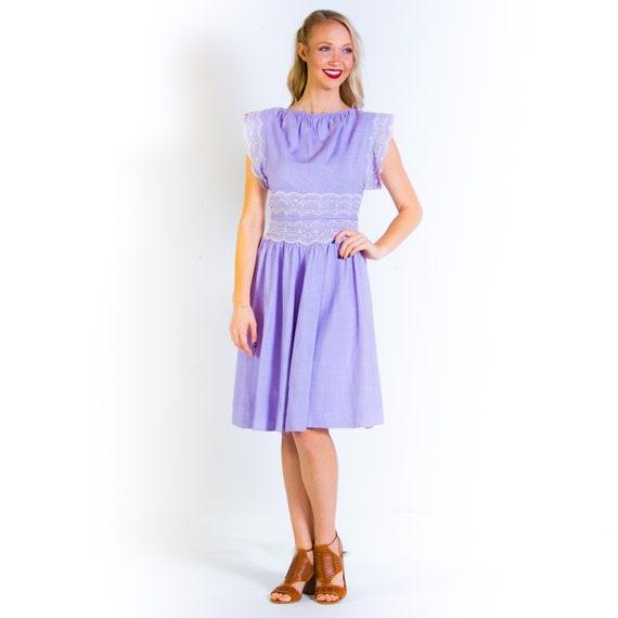 1940's Carlye Lavender Lace Linen Day Dress 40s