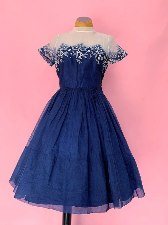 1950's Carlye Party Dress Navy Floral Full Skirt I