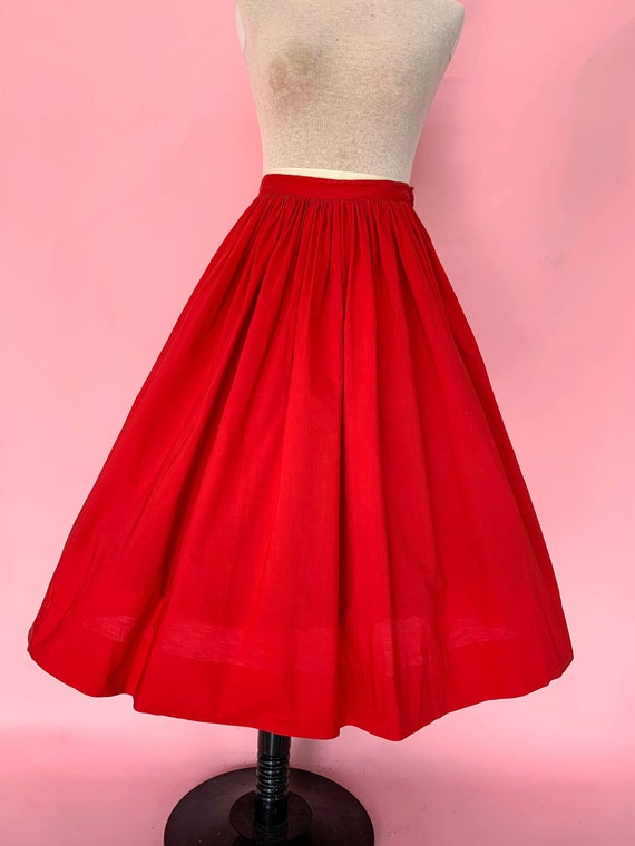 1950's Red Cotton Circle Skirt
