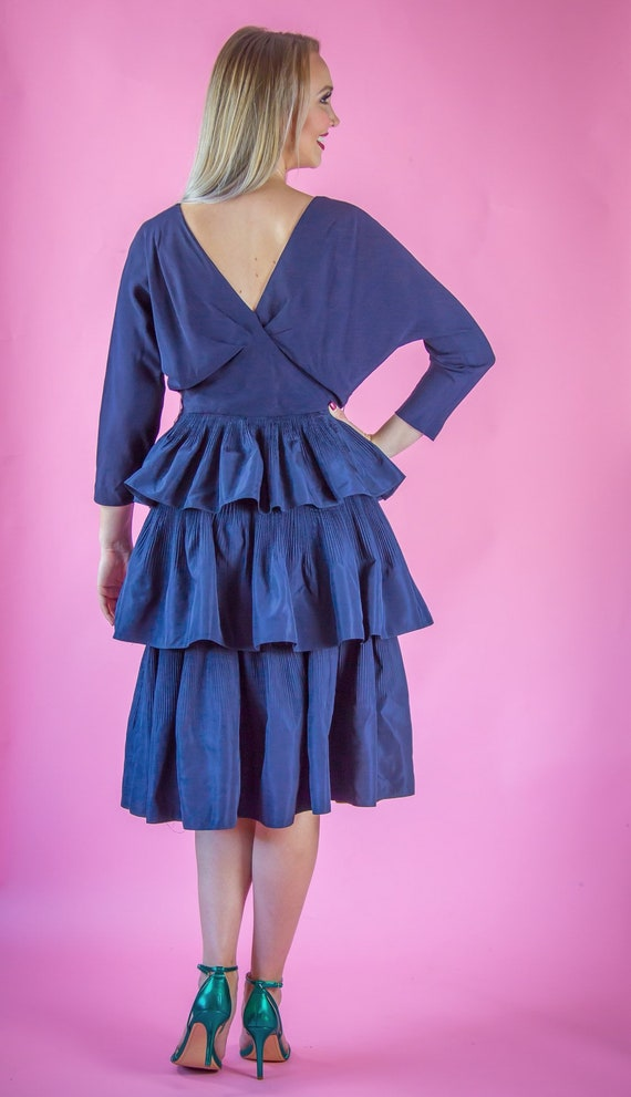 1940's 1950's Navy Party Dress Cocktail Dress - image 3