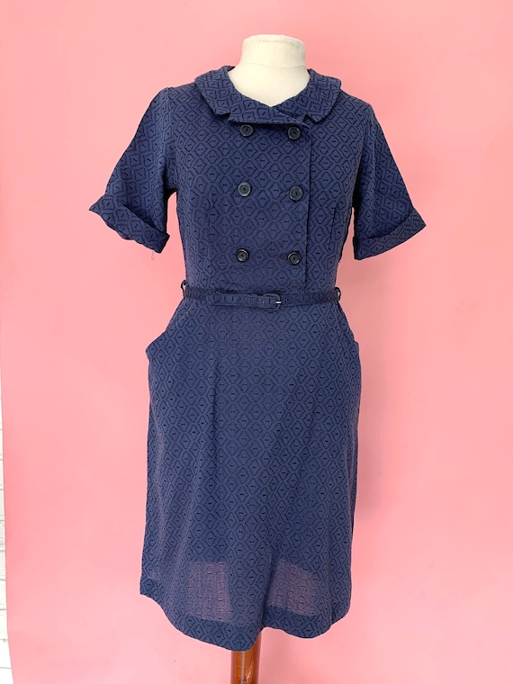 1950's Navy Blue Day Dress Secretary Dress Large