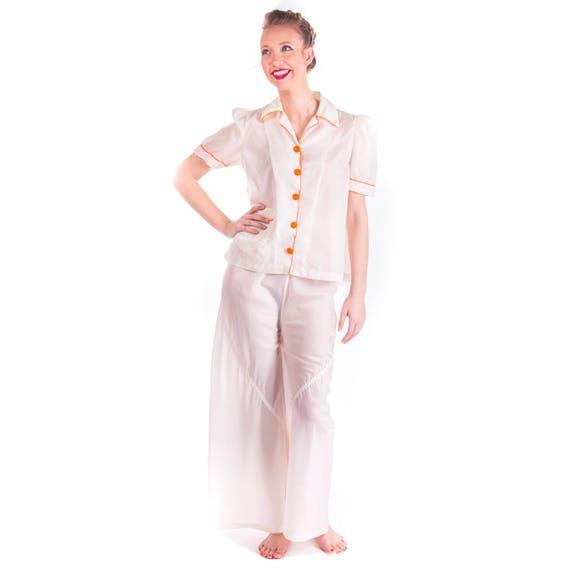 Rare 1940's Parachute Pajamas 30s 40's PJs Nightwe