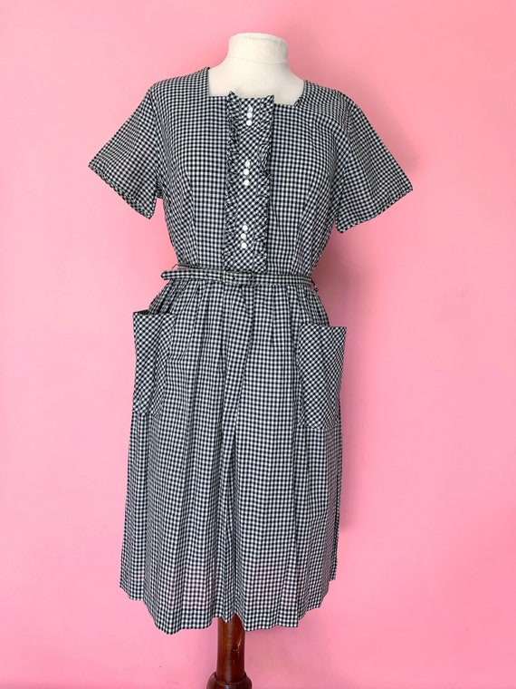 1950's 1960's Black and White Gingham Day Dress si