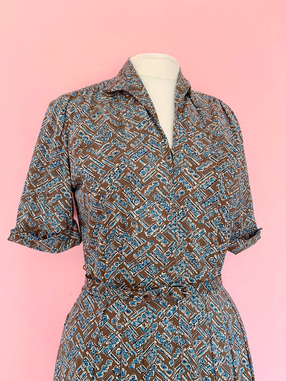 1950's Brown Jersey Zipper Front Day Dress Size L… - image 3