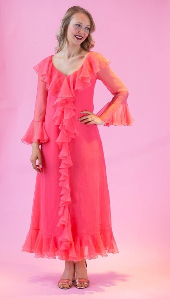1960's Mollie Parnis Ruffle Chiffon House Dress 60
